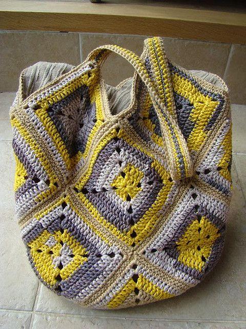 bolsa de cuadrantes de ganchillo