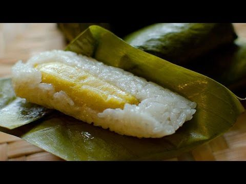 Steamed sticky rice cakes with banana | Luke Nguyen's Laos recipes - YouTube