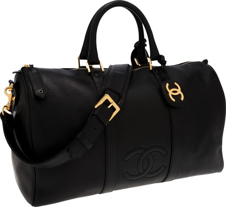 Chanel Black Caviar Leather Duffle Bag