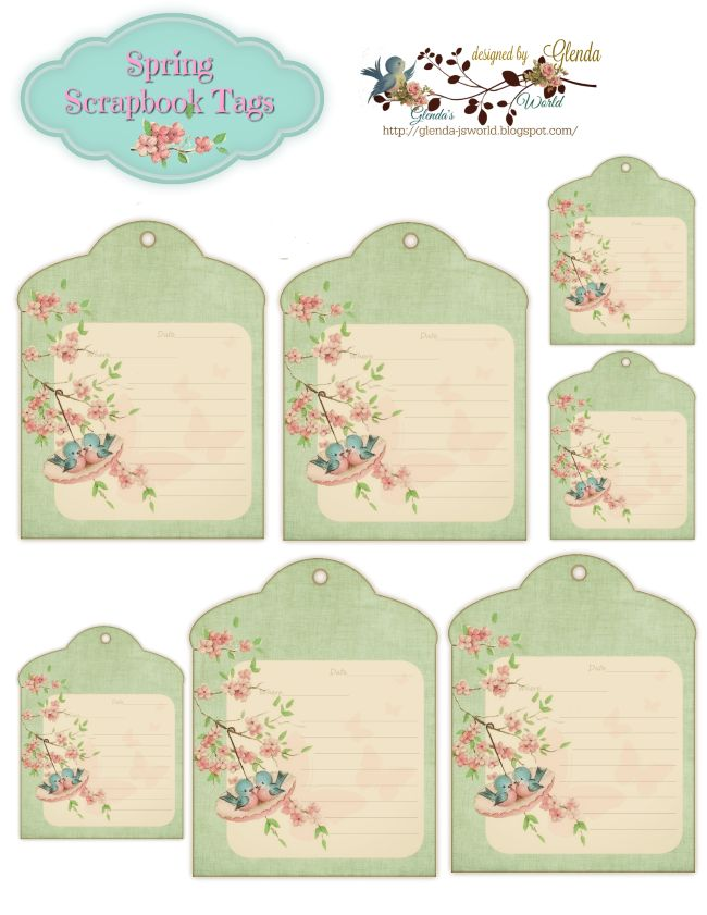 Take lots of pictures this Spring........... I've designed some pretty tags for you to use on those pretty scrapbook pages.......... ...