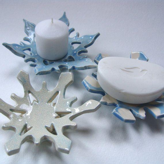 Icey Schneeflocke Keramik Kerzenleuchter Seifenschale von maryjudy
