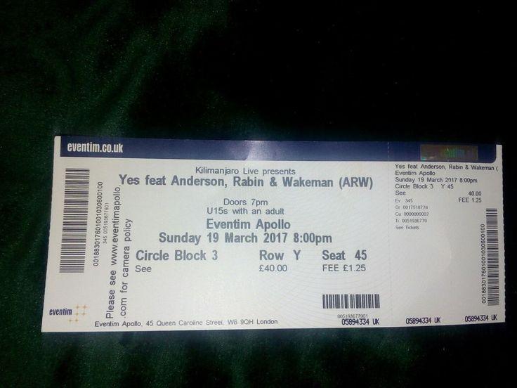 Anderson, wakeman,Rabin ticket at Hammersmith