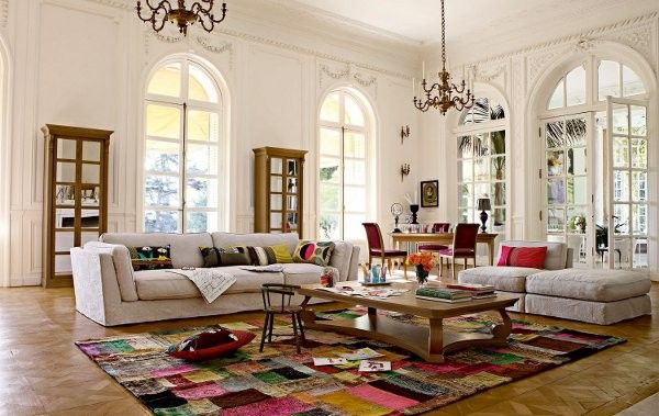 How To Decorate Large Living Room: White Living Room With Rug, Wood   Living Room Large Big Interior Design 12