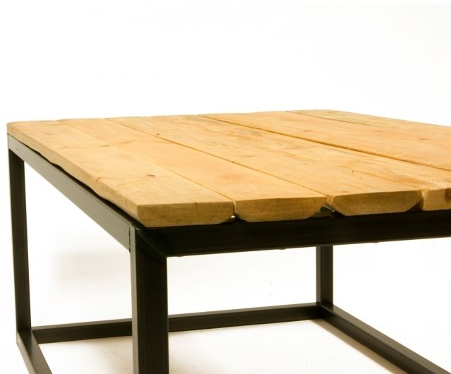 Coffee table dedicated for lovers of natural, pure wood. Beautiful and pleasant to touch.  Table top: seven brushed pine planks. Dimensions: 110x70x45 cm Material: wood + steel Realisation time: within 2-3 weeks (the SHIPPING TIME is not included).