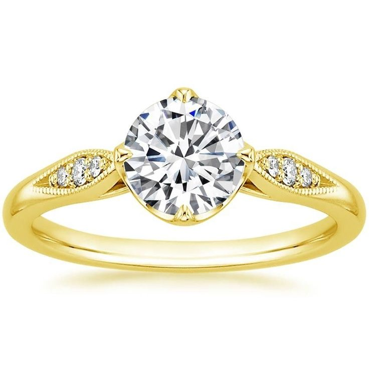 0.05ct 14k Yellow Gold Milgrain Detail Flower Diamond Engagement Ring Semi Mount #TrueDiamondJewelry #SolitairewithAccents
