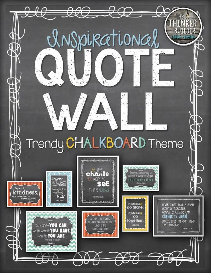 Modern Classroom Quotes : Inspirational quote wall quot trendy chalkboard theme