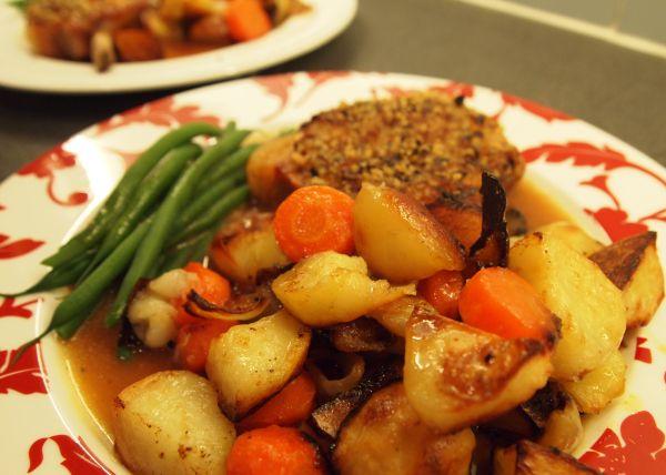 Sage & onion pork chops with roast veg