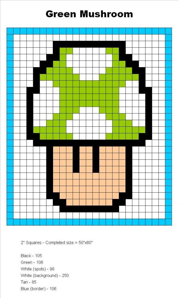 Free Mario Mushroom Crochet Granny Square Blanket Templates