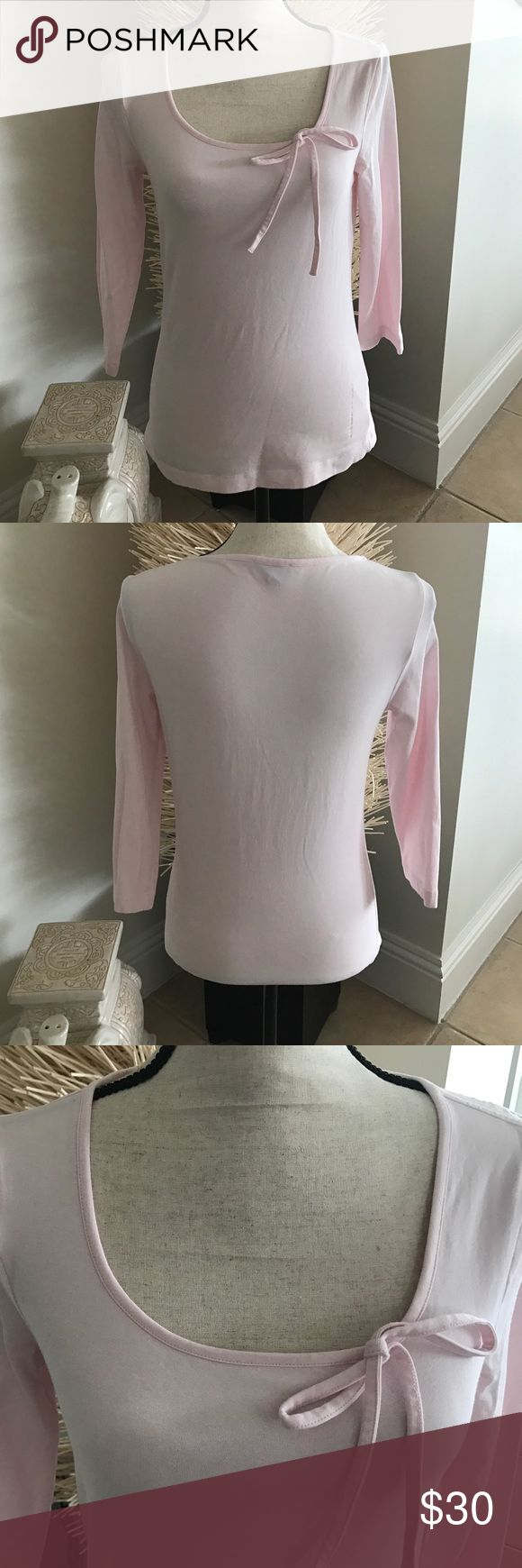 Escada Sport Cotton Shirt Escada Soort cotton 3/4 length cotton shirt with bow.  Like new in perfect condition. Fits a 6-8 Escada Sport  Tops Tees - Long Sleeve