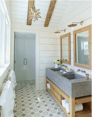 Not loving that floor at all. Acid brushed concrete floors would look AMAZING. Throw some comfy bath mats down and call it awesome.