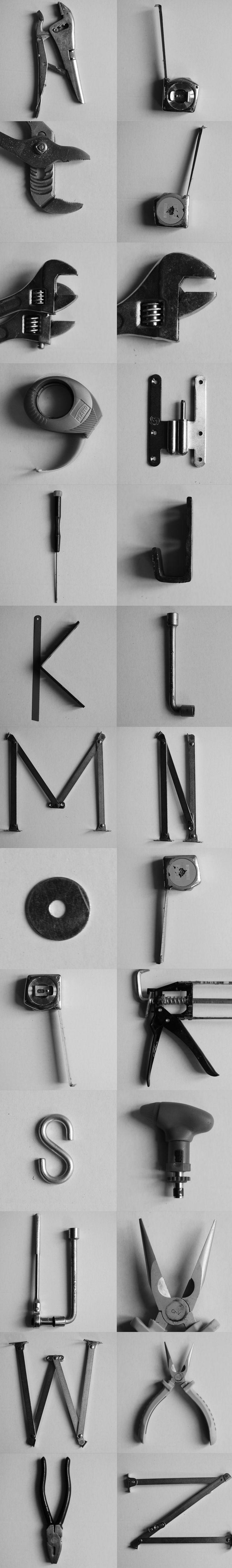 Abécédaire avec des outils de bricolage #typography #crafts
