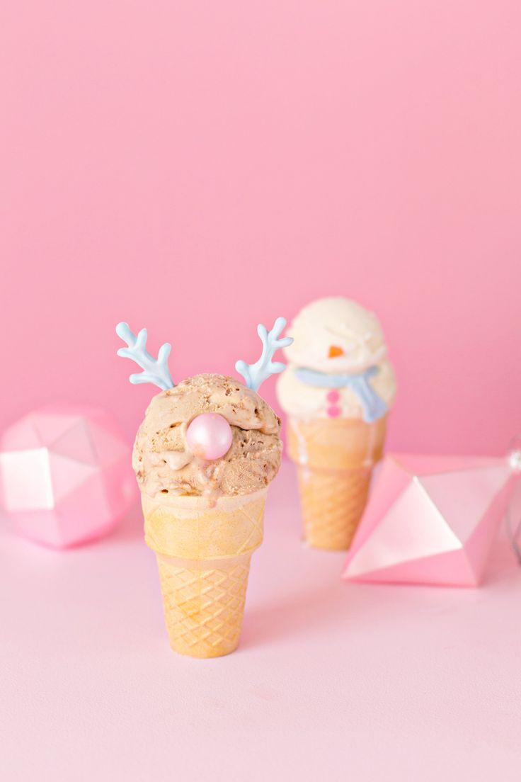 Snowman + Reindeer Ice Cream Cones