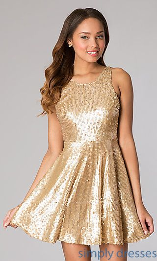 Sequin Fit and Flare Sleeveless Dress