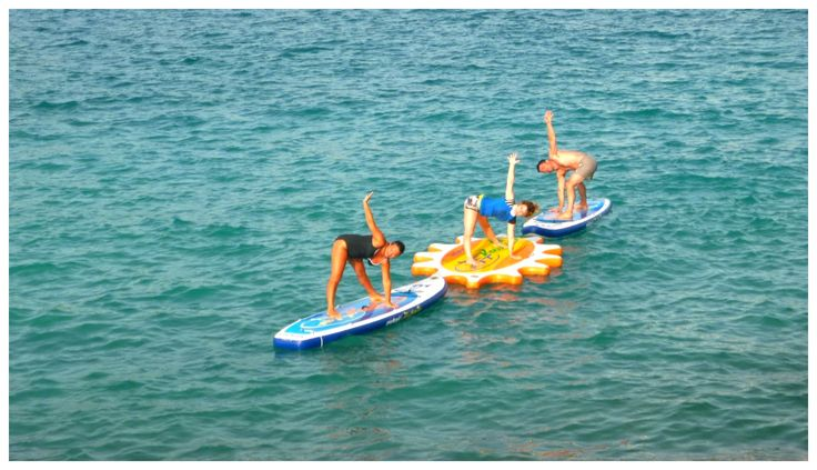 Early morning class with Nefeli Stamouli at Loutraki beach, Chania Crete on our Mistral boards.  http://paddleboardyoga.net/