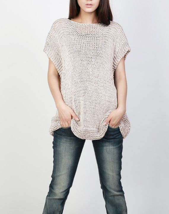 Hand knit Tunic sweater eco cotton woman sweater vest by MaxMelody