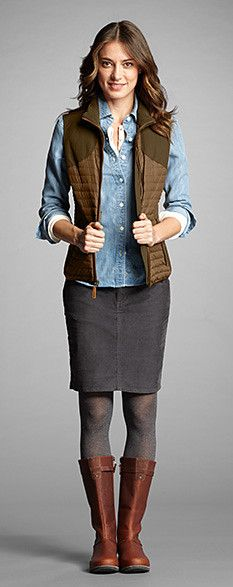 This is me - love casual skirts and boots for fall.  Also love hunting style of vest.