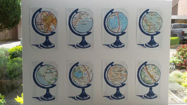 Globes gemaakt van een routekaart.