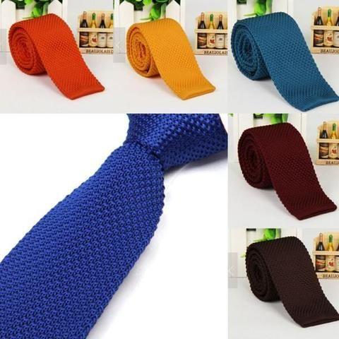 Color Solid Knit Slim Knitted Men/'s Narrow Tie Necktie Woven