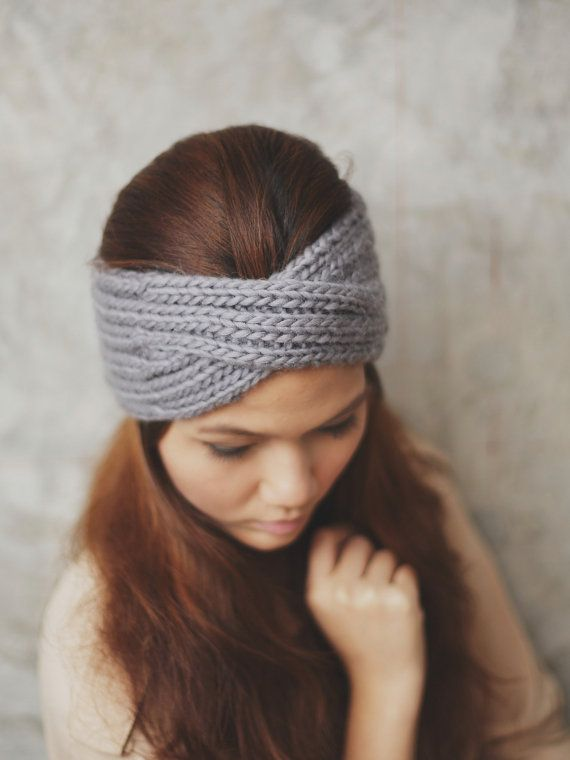 Knit Turban Headband - Grey 100 Percent wool yarn, Head Warmer, Ear Warmer, KT-I-12001-MM on Etsy, $34.95