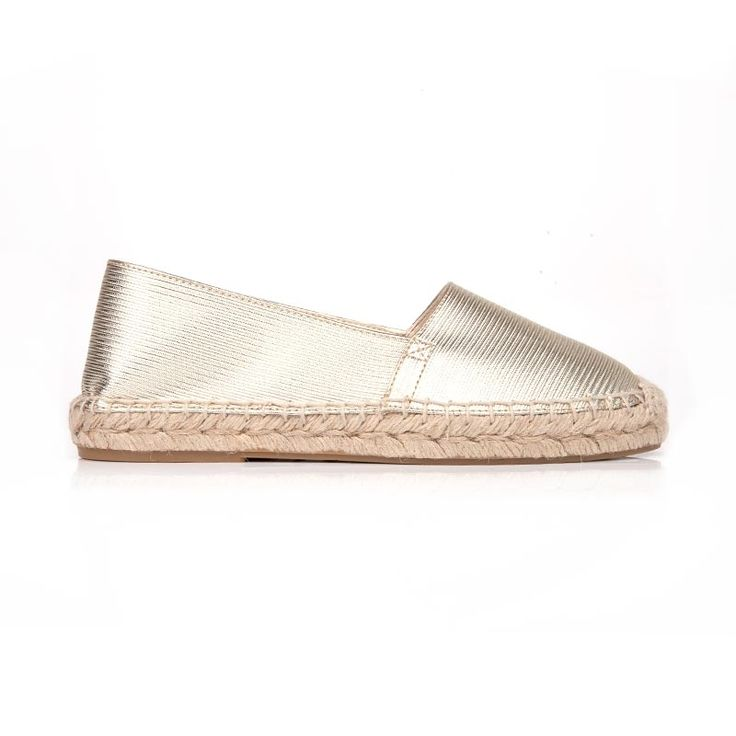 Mimi gold faux leather espadrille | gold faux leather pleather woven fabric | cruelty-free vegan and vegetarian shoe | made with non leather synthetic | vegane flache Schuhe | chaussures vegan