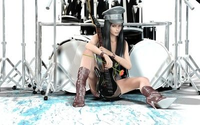 Woman with guitar and drum set wallpaper