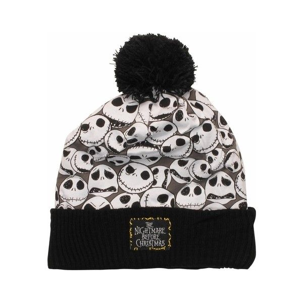 Nightmare Before Christmas Jack Collage Cuffed Pom Beanie ($20) ❤ liked on Polyvore featuring accessories, hats, lullabies, beanie hats, christmas beanie, christmas beanie hat, pom pom hat and christmas hats
