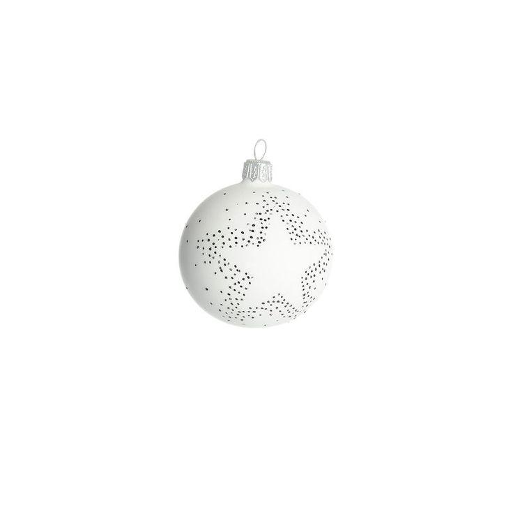 Kugel Stern Glas weiß ca D:6 cm