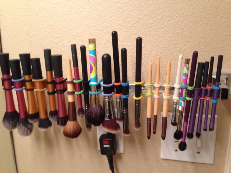 Drying makeup brushes.  You don't need an expensive drying rack, just a towel rack and some rubber bands or hair ties!