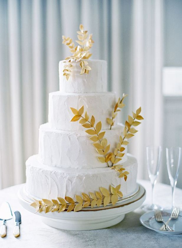 Gold Wedding Cake | Image by Jose Villa | See More Ideas: http://thebridaldetective.com/the-ultimate-guide-to-metallics/