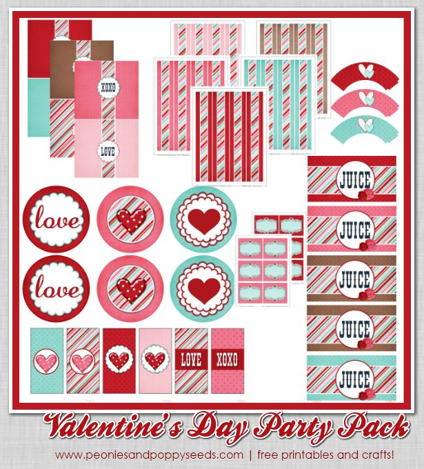 Free Valentine's Day Party Pack! | Peonies and PoppyseedsValentine'S Day, Pack Printables, Parties Favors, Huge Valentine'S, Parties Printables, Parties Pack, Valentines Day Party, Valentine Day Parties, Free Printables