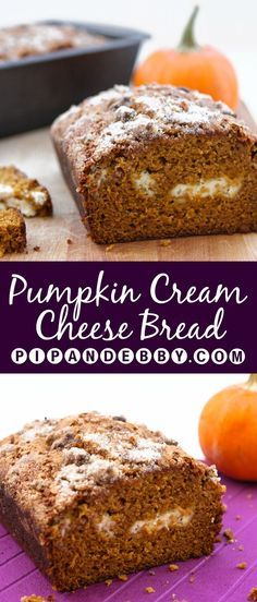 Pumpkin Cream Cheese Bread - this bread is sooo delicious and perfect for a fall treat!