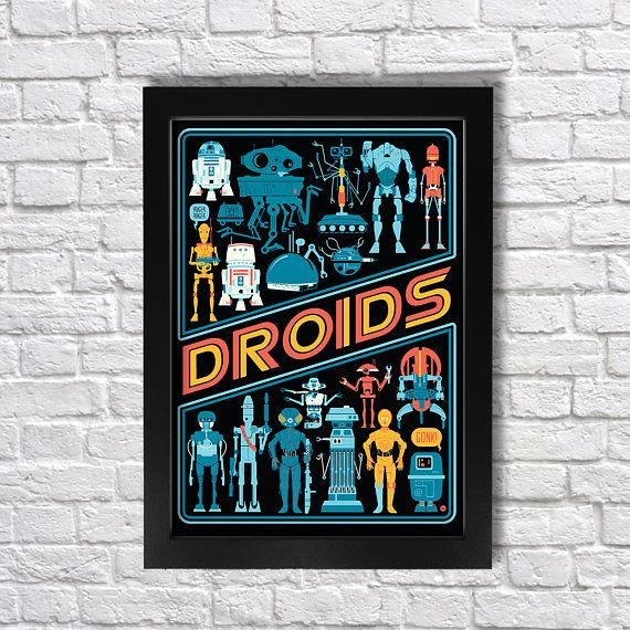 Buy Your Star Wars Droids Wall Art Poster From My Store Currently In A4 And A3 Print Size Perfect Gift For A Sitting Room Or Poster Wall Art Colorful Art Art