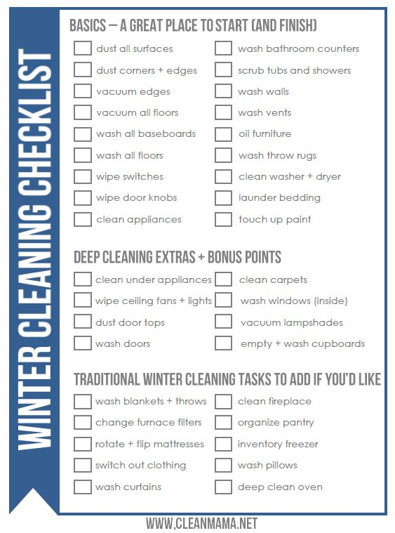 Get a jumpstart on your spring cleaning by doing a little winter cleaning - FREE printable checklist via Clean Mama