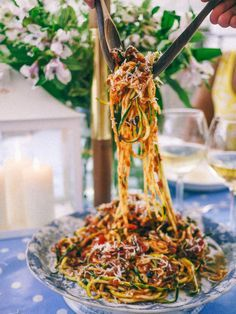 """No carb Meals Carb free recipes Slutty No Carb Pasta """"3 courgettes (zucchini) Anchovies (you wont taste them, they just give a salty richness to the dish) 2 cloves of garlic Handful of capers Handful of pitted black olives Chilli flakes Tin of tomatoes Olive oil Parmesan"""" link"""