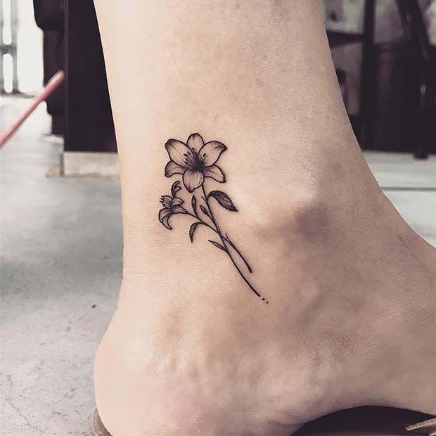 23 hübsche Lily Tattoo-Ideen für Frauen