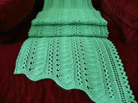 Knitting pattern for Lace Scarf/Shawl Gentle by suelillycreations, $4.25