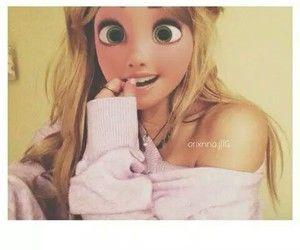 joliment, blond, dessin animé, savon, disney, yeux verts, cheveux longs, amant, moderne, princesse, Rapunzel, sourire, swag