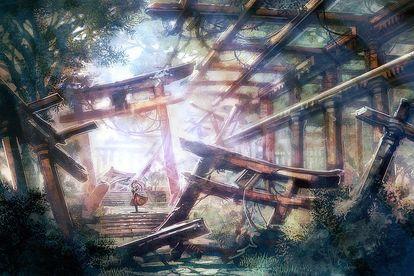 二次元 退廃的だけど神秘的な廃墟の画像イラスト壁紙 naver まとめ landscape illustration landscape pictures beautiful ruins