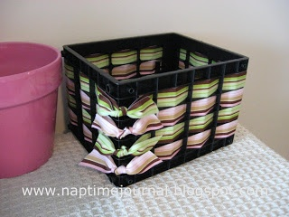 Weaving ribbons thru plastic crates for organization bins!