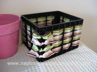 Weaving ribbons thru plastic crates for organization bins!