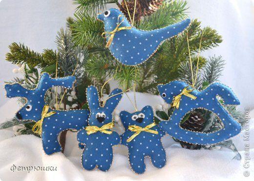Поделка изделие Новый год Шитьё Детские елочные игрушки Фетр фото 1