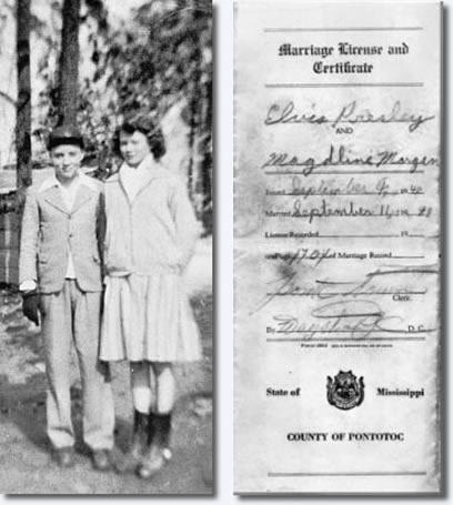 At age 13 a very impulsive and obviously very much in love Elvis took out a Marriage License in the hope to wed his primary school sweetheart Magdaline Morgan.