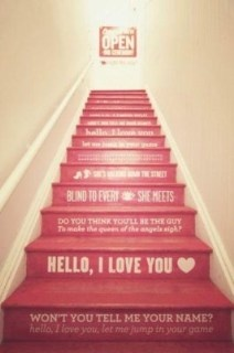 Song lyrics painted on stair risers