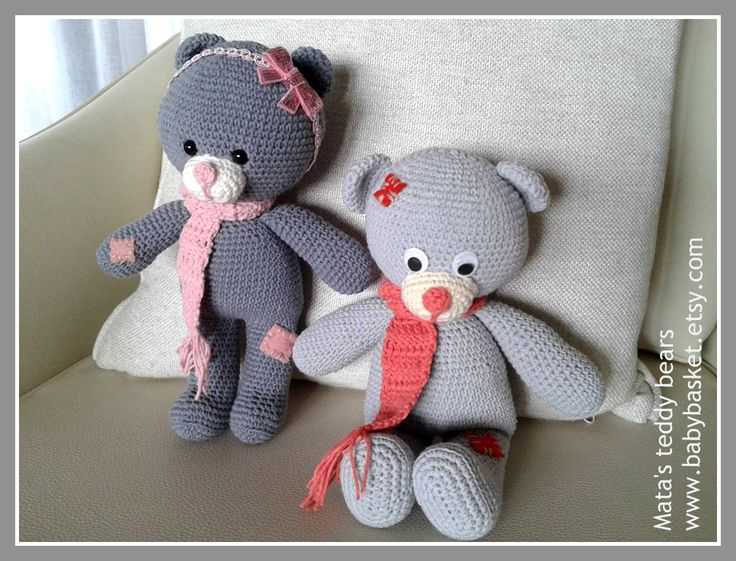 teddy bears I made from cotton yarn   and hook size 2.5mm. height about 27cm.