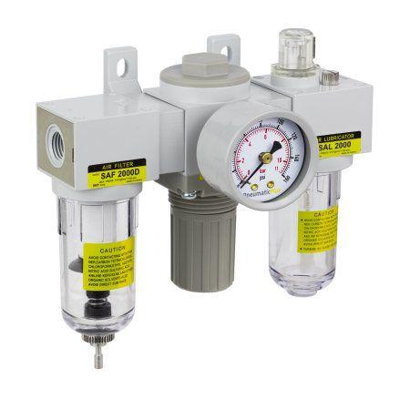PneumaticPlus SAU2000M-N02G 3-Unit Combo Compressed Air Filter Regulator Lubricator, FRL Air Preparation Unit 1/4 inch NPT, Particulate Air Filter (10 Micron), Manual Drain, Poly Bowl, Gauge