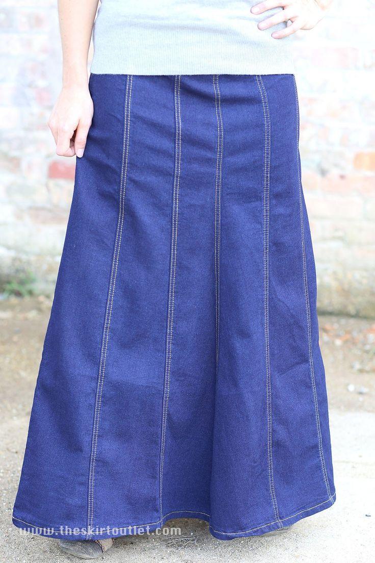 Alison Long Denim Skirt | Gored Blue Modest Long Jean Skirt – The Skirt Outlet