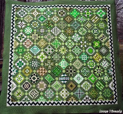 "beautiful green ""Nearly Insane"" quilt by Luann at Loose Threads"