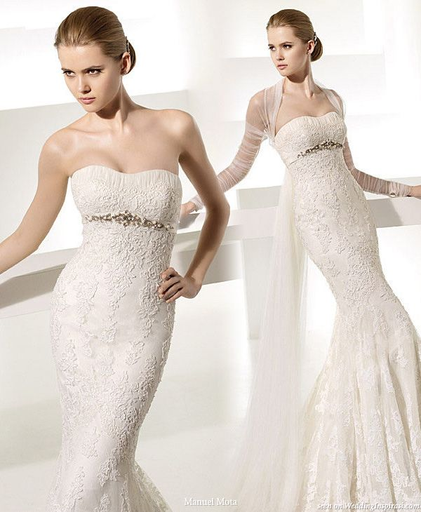 Here is the dress I ordered for my fall wedding November 27. It's a form fitting mermaid with a lace train (like Kate's!!) and has a silver applique with rhinestones and pearls. Was only $2,500. Not horrible for a wedding dress. Sorry, forgot to add that the designer is Pronovias of Barcelona.