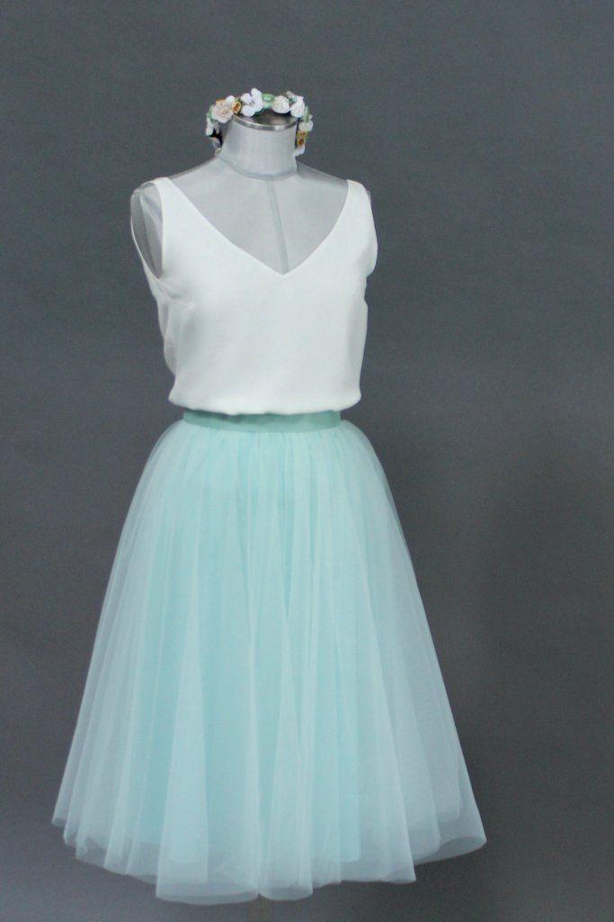 Tüllrock, kurz in Mint – Brautkleider, Hochzeitskleider, Zweiteiler und Spitzentops