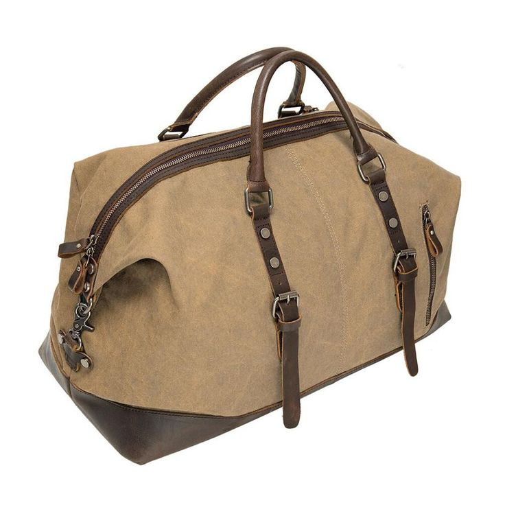 Beige canvas & leather duffel bag for your vintage style weekend travel